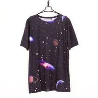 Mysterious Universe Print T-shirt for Women01