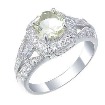 0.95 Carats Sterling Silver Lemon Quartz Ring (0.70 CT)