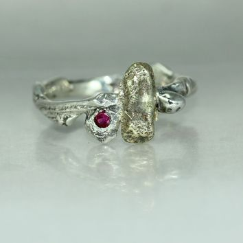 Copy of A 14K Gold Nugget Silver Twig Ruby Womans Mans Organic ring