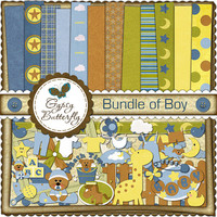 Digital Scrapbooking kit - Bundle of Boy - baby clipart and digital papers