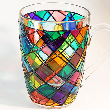 Mosaic Coffee Mug Сolorful Mug Psychedelic Coffee Mug Hand Painted Mug Coffee Cup Custom Coffee Mugs Mosaic Cup