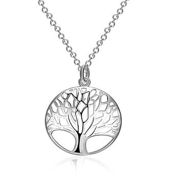 Tree Of Life Metallic Silver Color Necklace & Pendant