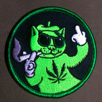 Iron-On ''Hipster Rasta Cat'' Embroidered Patch 3''