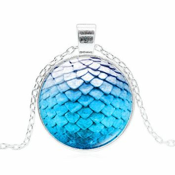 Game of Thrones Dragon Egg Glass Cabochon Pendant Necklace for Women