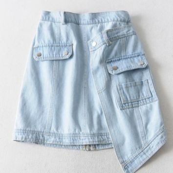 High waist back zipper irregular A word denim skirt