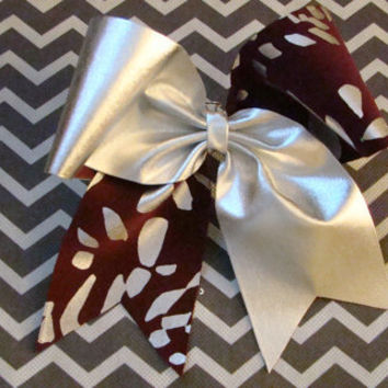 Flat Silver and Maroon Animal Print Criss Cross by isparklethat