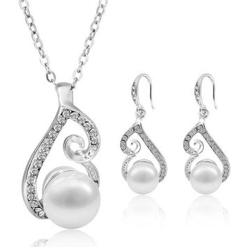 DCCKV2S Morenitor Jewelry Set Gold Plated Faux Pearl Pendant Necklace Dangle Earring Stud Set Gifts for Women