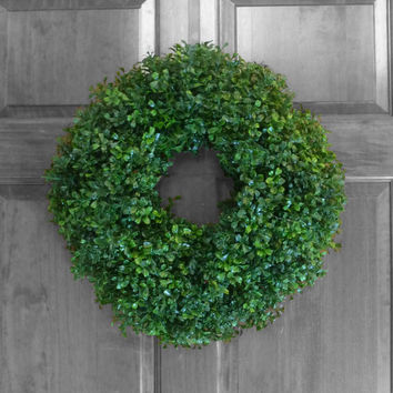 Artificial Boxwood Wreath - Outdoor Wreath - Year Round Door Wreath - Boxwood Wreath - Spring Wreath - Summer Wreath - Front Door Wreath