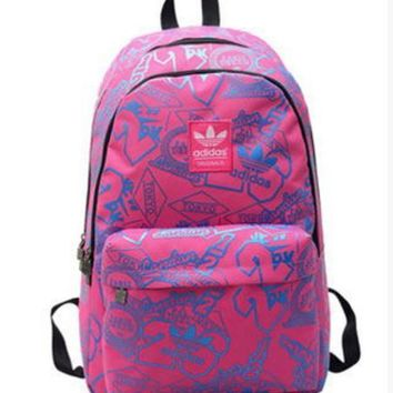 Adidas Canvas backpack couples men's and women's junior high school students leisure backpack bag institute wind movement