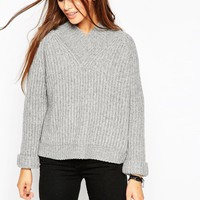 ASOS Chunky Rib Jumper with V-Neck