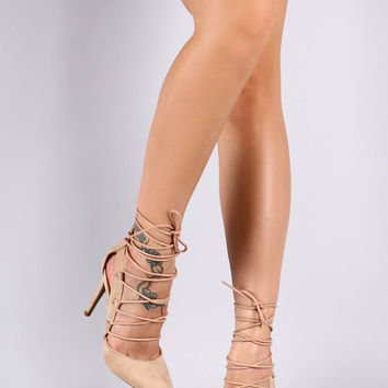 Wild Diva Lounge Pointy Toe Lace Up Pump