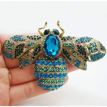 Fashion Elegant Bee Insectl Gold Tone Brooch Pin Blue Crystal Rhinestone