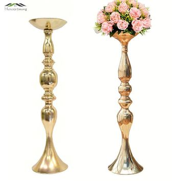 Gold Metal Candle Holders 50cm/20'' Stand Flowers Vase Candlestick As Road Lead Candelabra Centre Pieces Wedding Decoration 005