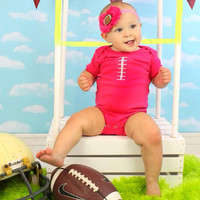 Football princess hot pink bodysuit and headband