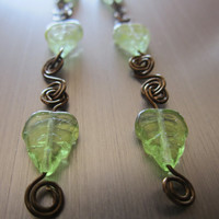 Cucumber - Green Glass Leaf/Wrapped Wire Earrings