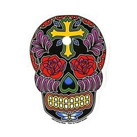 Rose Cross Sugar Skull Sticker - 307068
