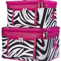 2-Piece Set - Zebra Print Cosmetic Cases w/ Fuchsia Trim