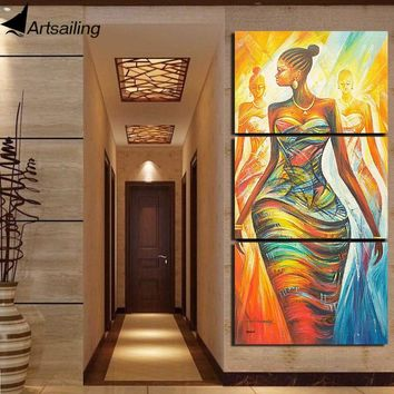 ArtSailing HD Printed 3 Piece Canvas Painting Abstract African Women Picture Modular Canvas Prints For For Living Room Decor