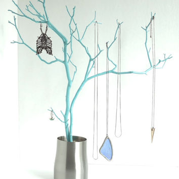 Jewelry Stand Organizer Tree Turquoise Blue stainless steel painted tabletop tree necklace holder branch bedroom decor for her