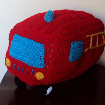 Crocheted Fire Truck Stuffed Toy / Pillow