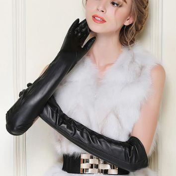 Fashion Long Real Leather Gloves For Women Genuine Sheepskin Gloves Adult Goat Skin Leather Warm lined Black High-grade gloves