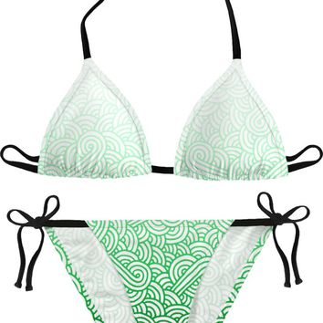 Gradient green and white swirls doodles Bikini