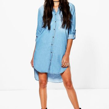 Debbi Longline Denim Shirt Dress | Boohoo