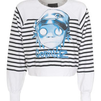 HOUSE OF THE GODS  Striped Gorillaz Character White  Cropped sweater wih print  - Sweaters