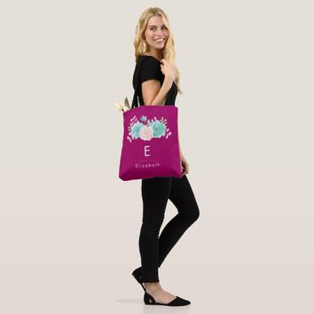Pastel Pink & Green Floral Bouquet on Magenta Back Tote Bag