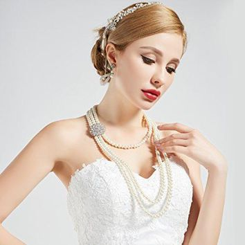 1920s Gatsby Vintage Bridal Pearl Necklace Earrings Jewelry Set with Brooch
