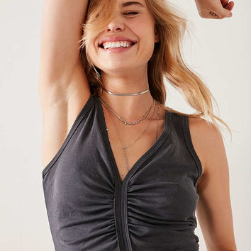 Silence + Noise Laurel Ruched-Front Cropped Cupro Tank Top   Urban Outfitters