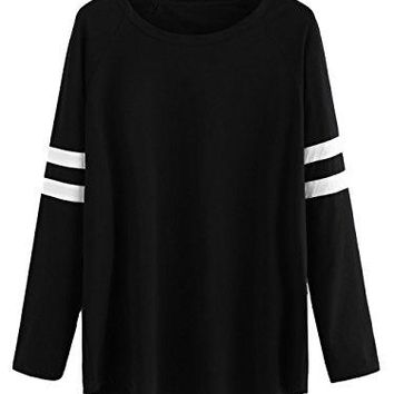 Milumia Womens Varsity Striped Sports Long Sleeve Baseball Tee Shirt Top