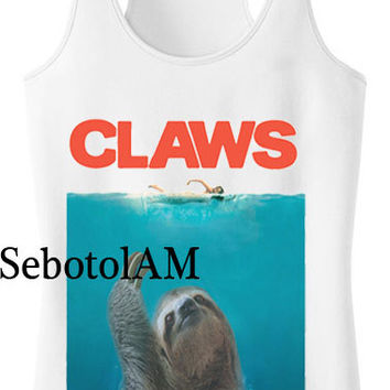CLaws Sloth Jaws Parody T Shirt Hype Fresh ScreenPrint, funny shirt for Tank Top men and tank top Girl