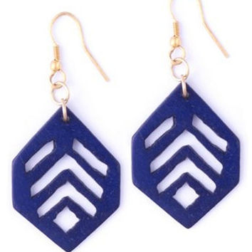 Vintage Leaf Earrings - Navy