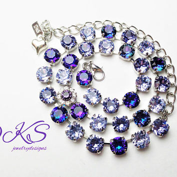 Ultra Violet, Swarovski 8mm Necklace, Purple, Bridal, Silver, Adjustable, Crystal Flower, DKSJewelrydesigns, FREE SHIPPING