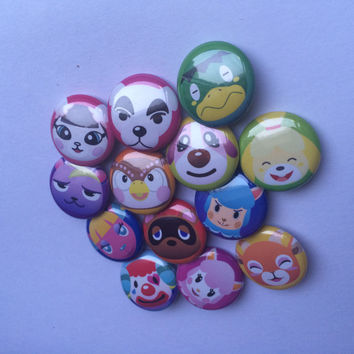 Animal Crossing Pins 19 Buttons (Tom Nook, Blathers, Cookie, Isabelle, Lucky, Kapp'n, Reese, KK Slider, Cyrus, Beau, Pietro, Static, & More)