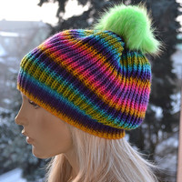 Knitted multicolor  cap / hat green fur pompom lovely warm autumn accessories  women clothing  Knit Hat Womens