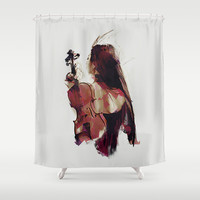 Strings Shower Curtain by Galen Valle