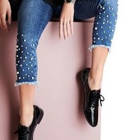 """Lisette L Betty Denim 28"""" Ankle Jean With Pearls and Fringe"""