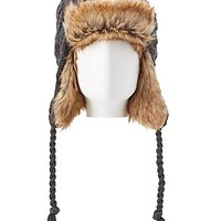 FAUX FUR CABLE KNIT TRAPPER HAT