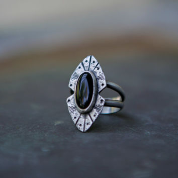 Black Onyx Ring - Black Stone Southwestern Ring - Statement Ring Silver - Edgy Rings - Boho Jewelry - Rogue River Ring