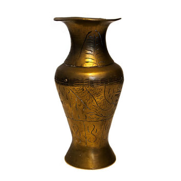 Hand Carved Antique Brass Vase, Antique Chinese Vase, Brass Collectibles Urn Vase