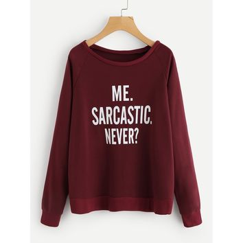 Burgundy Scoop Neck Long Sleeve Sweatshirt Top