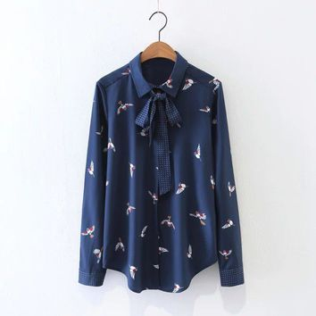 Print All Match Long Sleeve Blouse 2017 New Fashion Purple Turn-down Collar Women Shirt Vintage Bird Printing Woman Tops