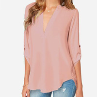 Pink V Neck Slim Blouse -SheIn(Sheinside)