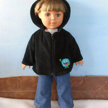 18 Inch Boy Doll Coat, Boy Doll Jacket, Black Corduroy Jacket, Monster Doll Coat, Black Doll Coat, Hooded Doll Coat, Boy Doll Clothes