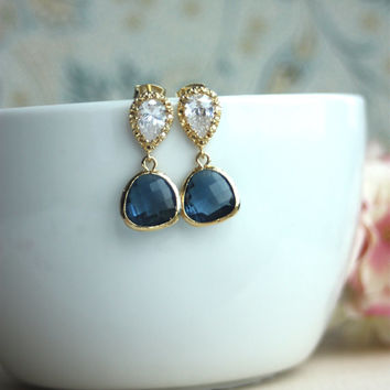 Blue Sapphire, Montana Blue Glass Pear Gold Earrings. Wedding Jewelry, Bridal Earrings. Something Blue. Bridesmaid Gift.  Blue Gold Wedding.