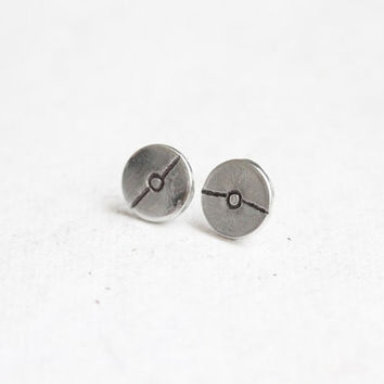 Hand Stamped Pokeball Stud Earrings