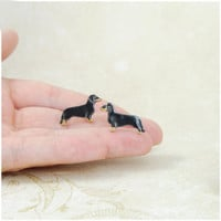 Dachshund sausage dog stud- ceramic stud, tiny dog, mini ,