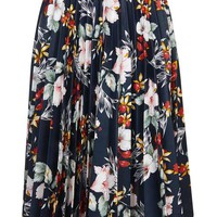 Floral Print PU Pleated Skirt - Skirts - Clothing